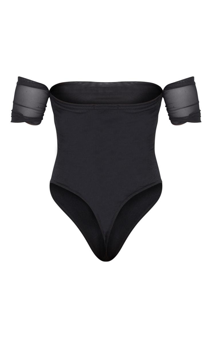 Petite Black Mesh Ruched Bardot Bodysuit 4