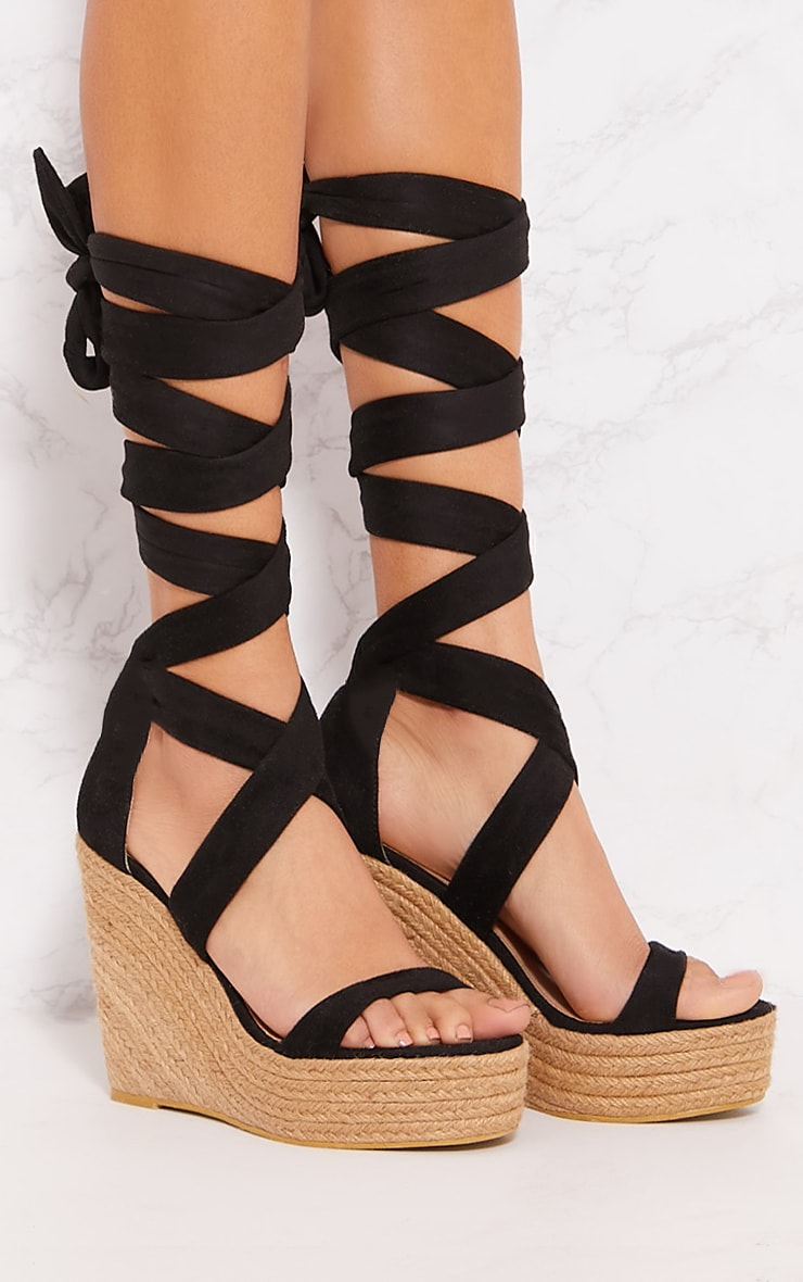 Black Leg Wrap Espadrille Wedge Sandal 5