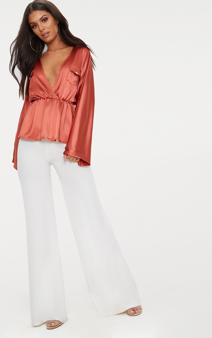 Burnt Orange Satin Plunge Pocket Detail Blouse      4