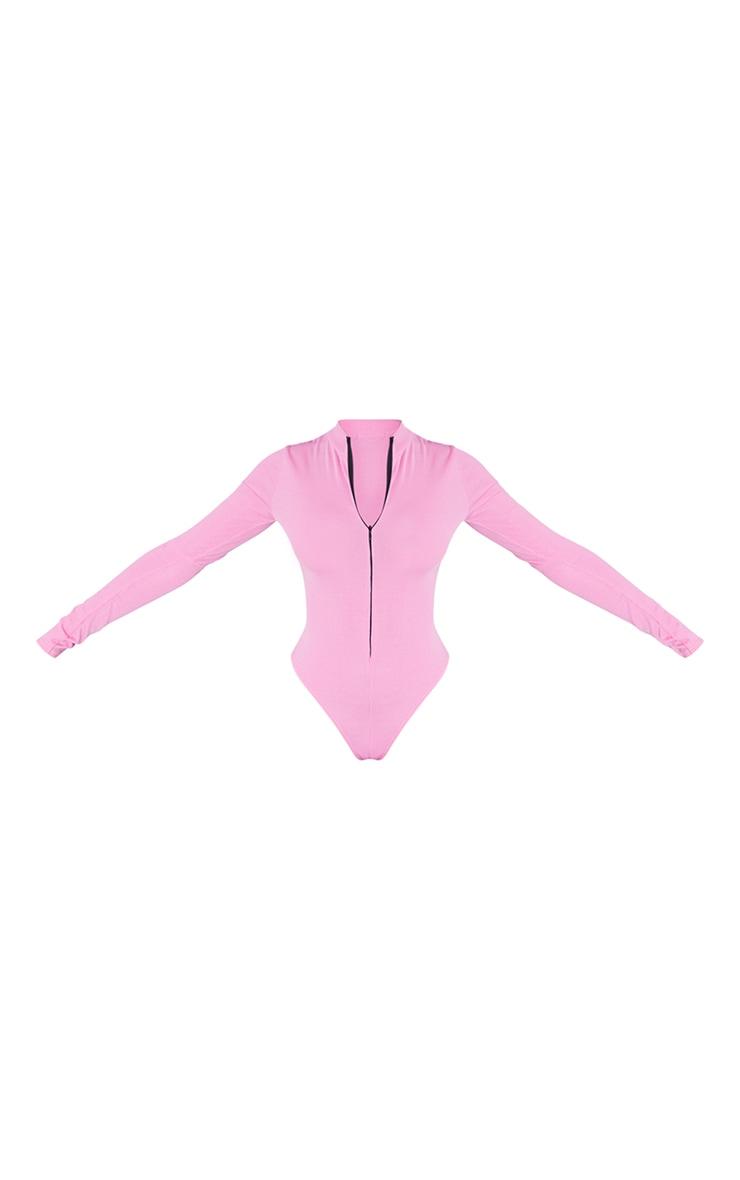 Hot Pink Rib Zip Up Long Sleeve Bodysuit 5