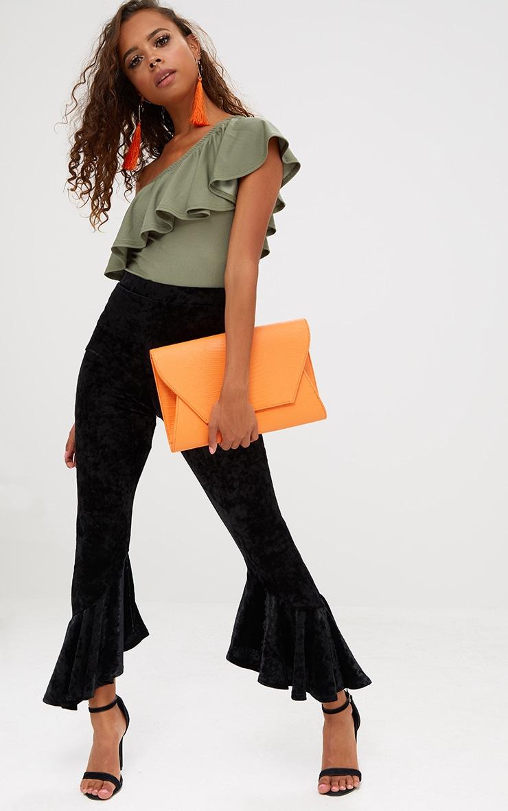 Petite Khaki One Shoulder Frill Bodysuit 4