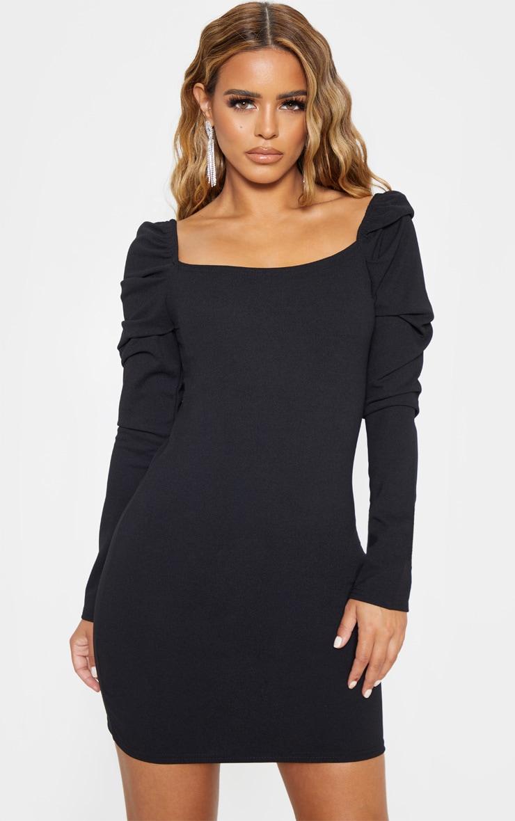 Petite Black Puff Sleeve Mini Dress 1