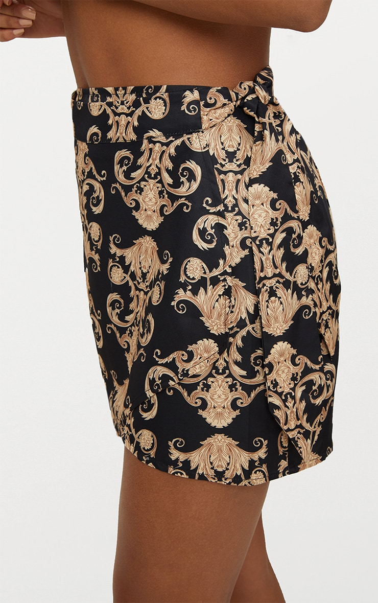 Black Satin Scarf Print Wrap Tie Mini Skirt 6