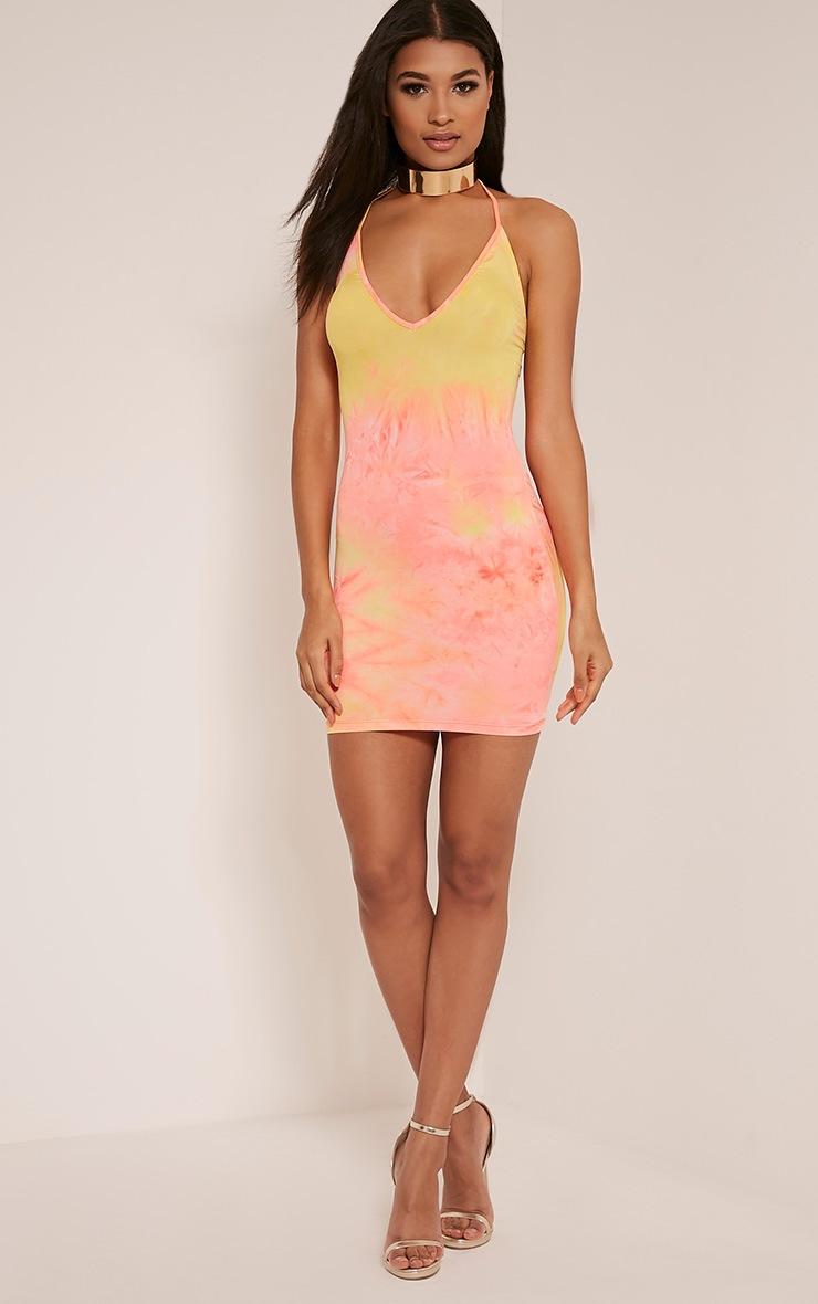 Margot Orange Plunge Tie Dye Bodycon Dress 5