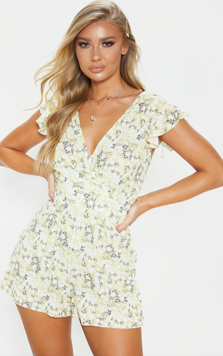 Yellow Ditsy Floral Wrap Playsuit 1