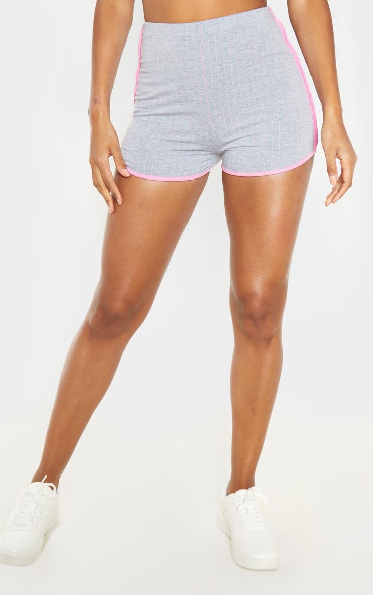Grey Pinstripe Contrast Binding Runner Short  2