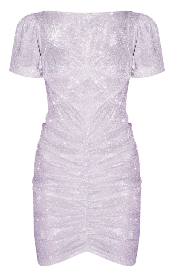 Pink Textured Glitter Ruched Puff Sleeve Cup Detail Dress 3