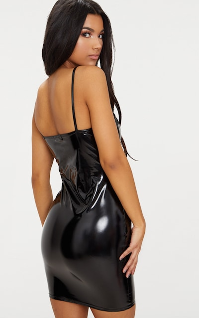 Black Strappy Bust Cup Detail Vinyl Bodycon Dress
