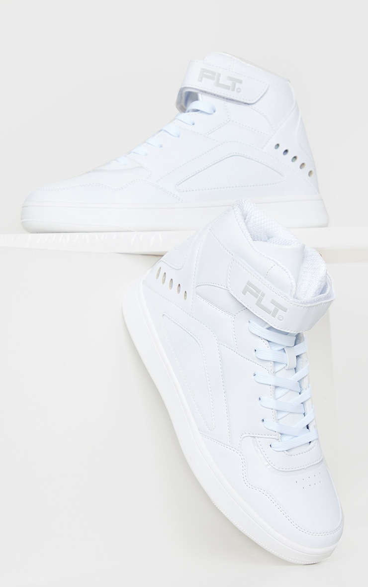 PRETTYLITTLETHING White Strap High Top Sneakers 2