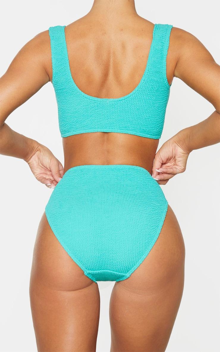 Aqua Crinkle High Waist Bikini Bottom 3