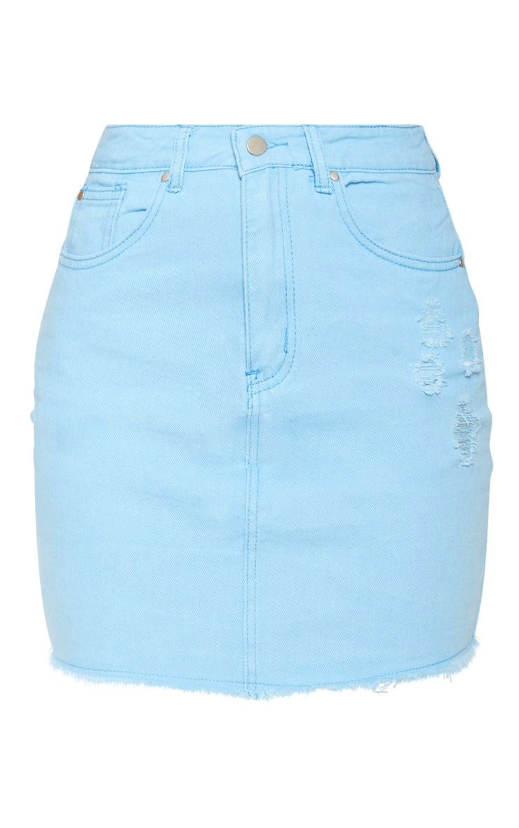 Baby Blue Distressed Denim Mini Skirt 2