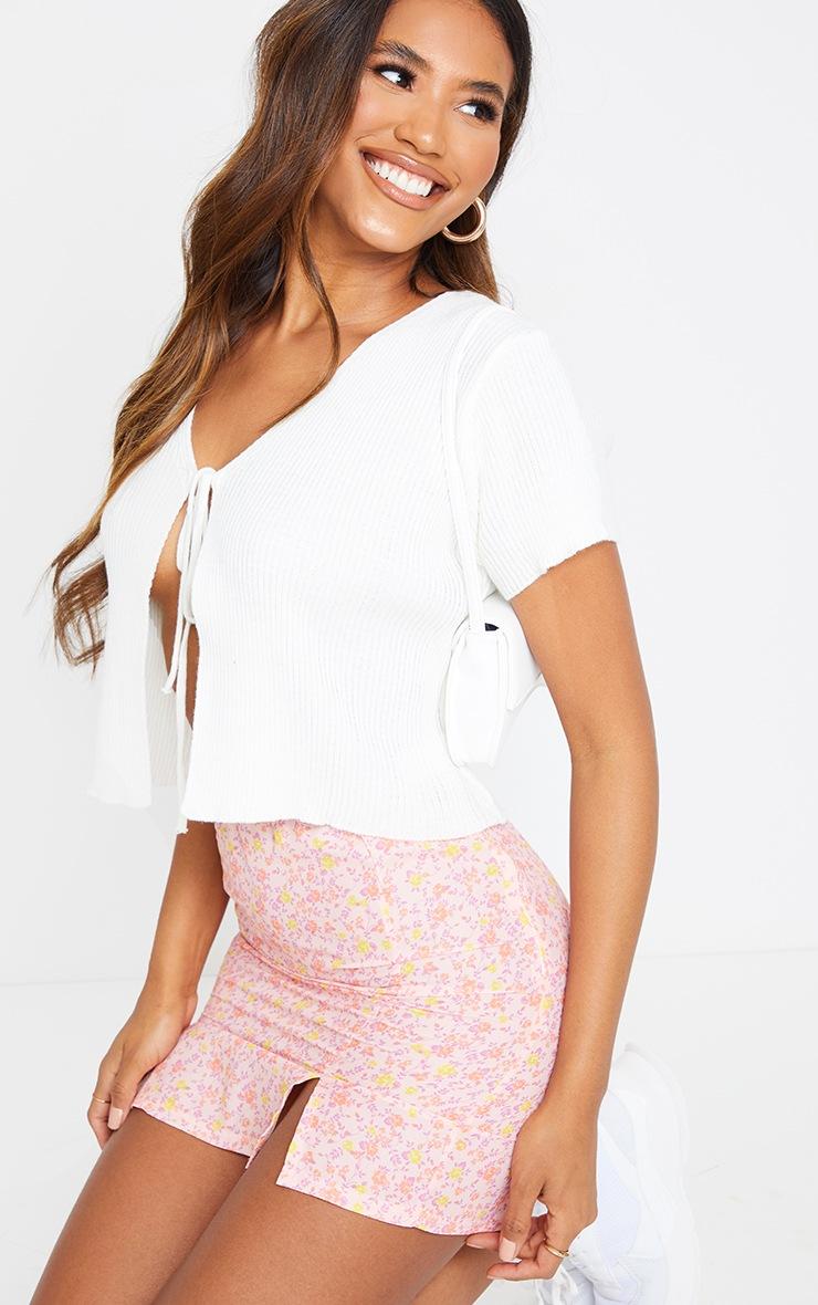 Pink Woven Printed Split Hem Mini Skirt 5