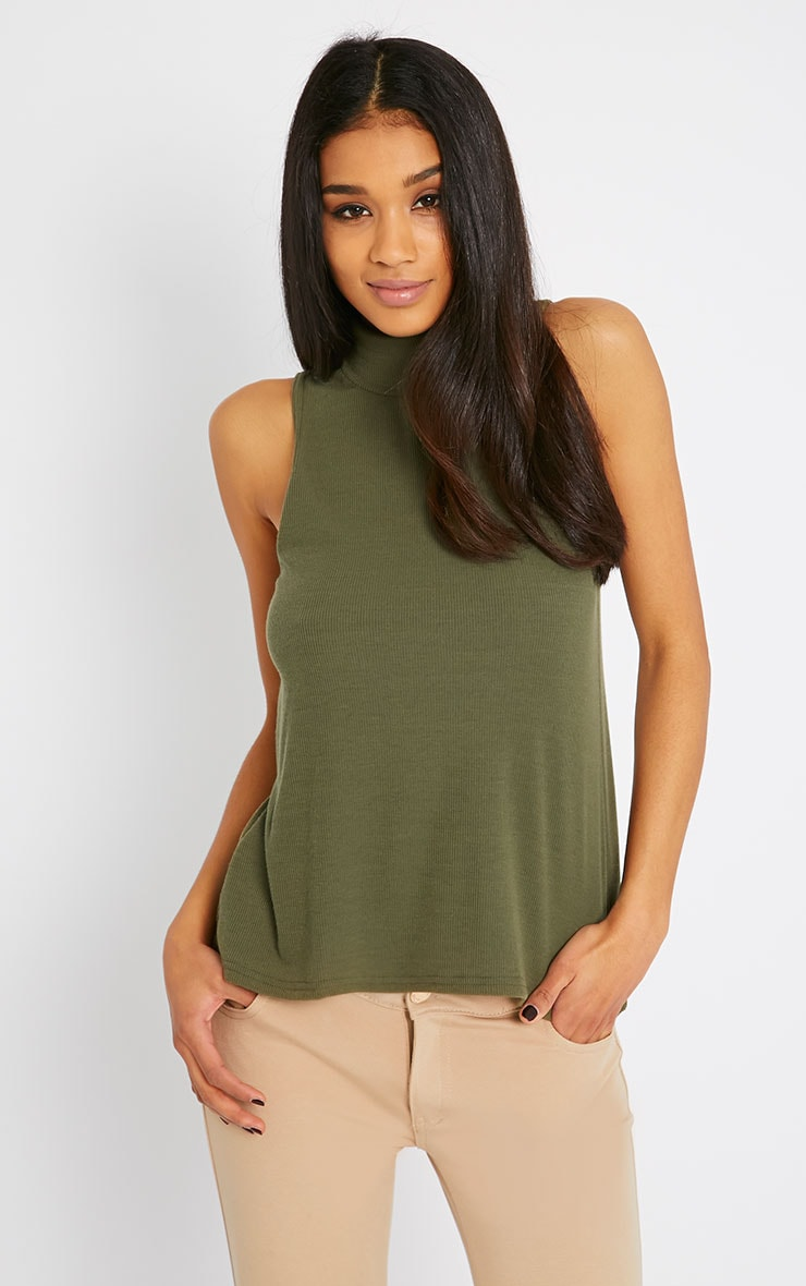Basic Khaki Sleeveless Turtle Neck 1