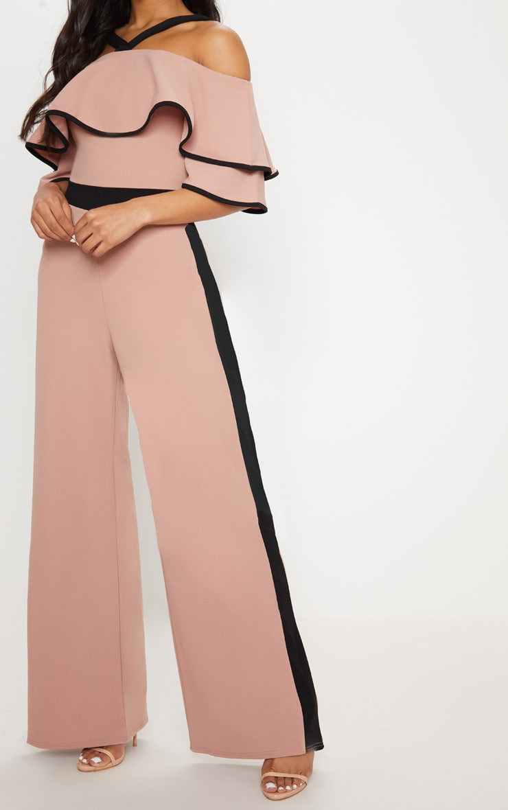 Dusky Pink Contrast Cold Shoulder Jumpsuit 5