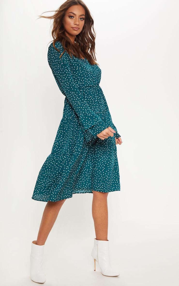 Emerald Green Polka Dot Layered Frill Detail Midi Tea Dress 1