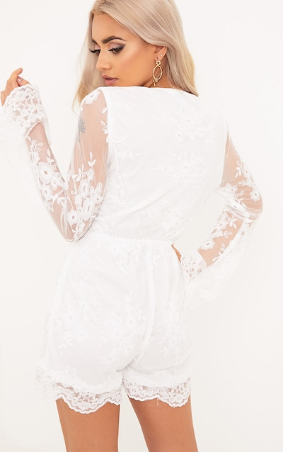Bella White Lace Bell Sleeve Playsuit