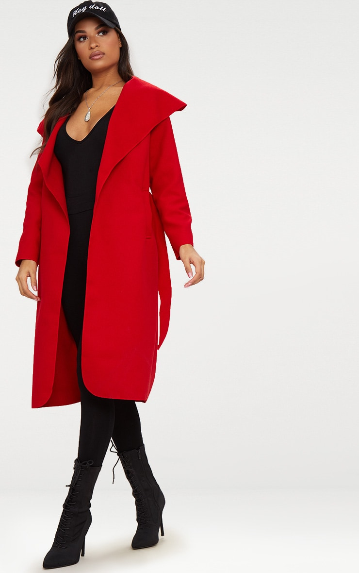 Veronica Red Oversized Waterfall Belted Coat 4