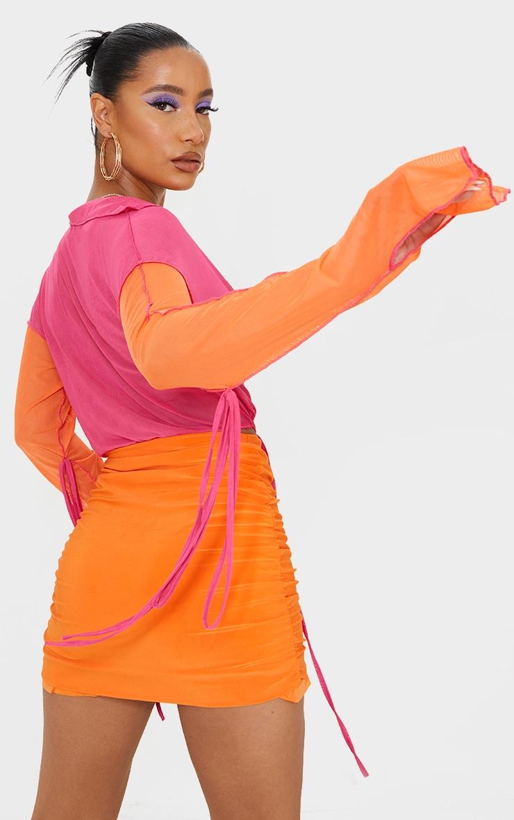 Hot Pink Mesh Contrast Multi Tie Long Sleeve Plunge Crop Top 2