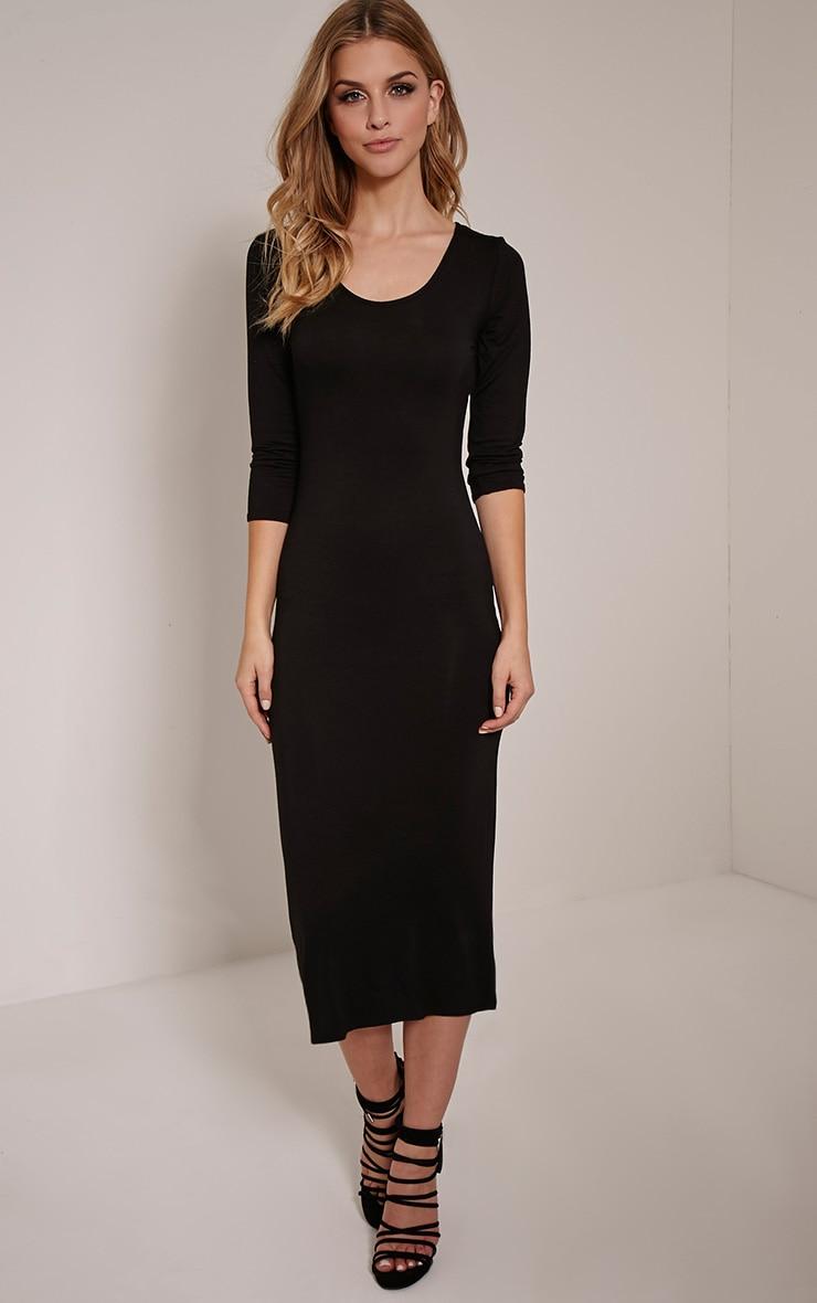 Basic Black 3/4 Sleeve Midi Dress 4