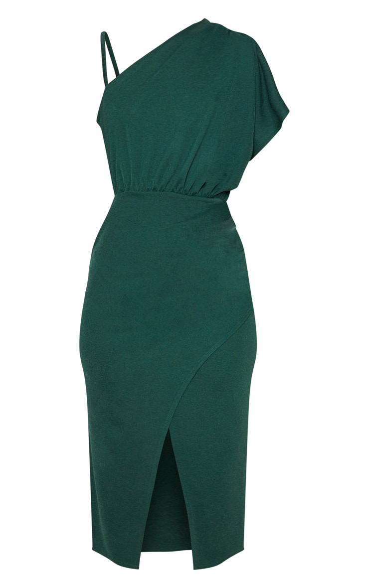 Emerald Green Drape Detail One Shoulder Midi Dress 3