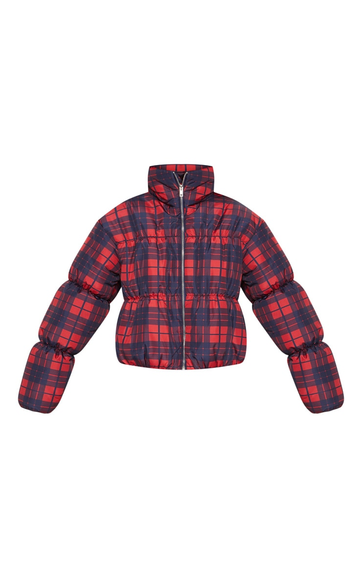 Navy Checked Puffer 3