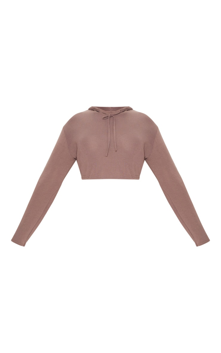 Plus Chocolate Knitted Cropped Hoodie 3