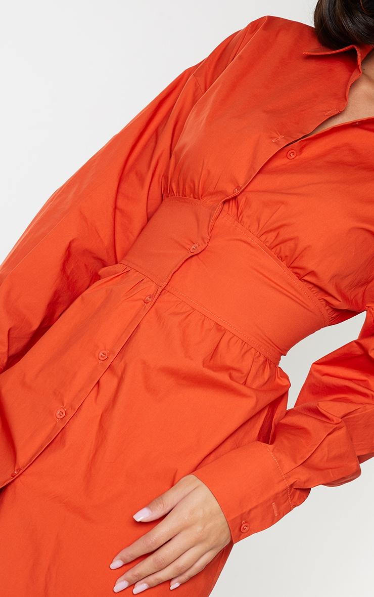 Rust Waist Binding Detail Long Sleeve Shirt Dress 4