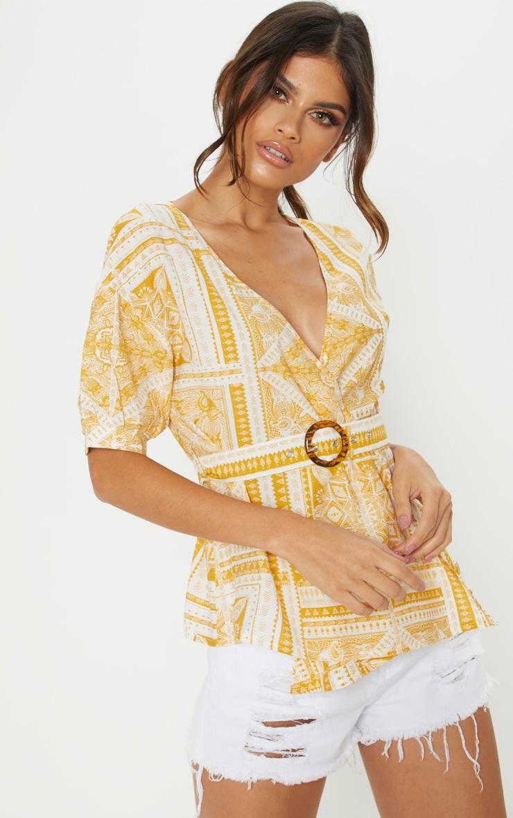 Mustard Paisley Plunge Belt Detail Bardot Top 1