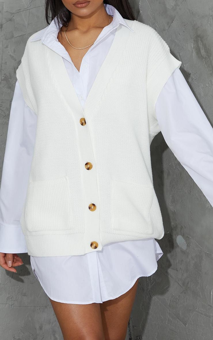 Cream Button Up Pocket Detail Sleeveless Cardigan 4