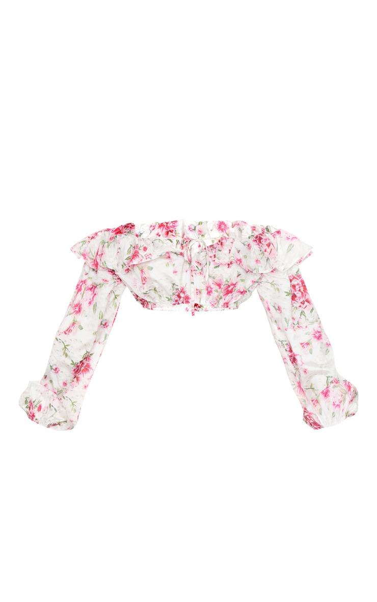 Crop top imprimé floral rose à col bateau volanté et manches bouffantes 5
