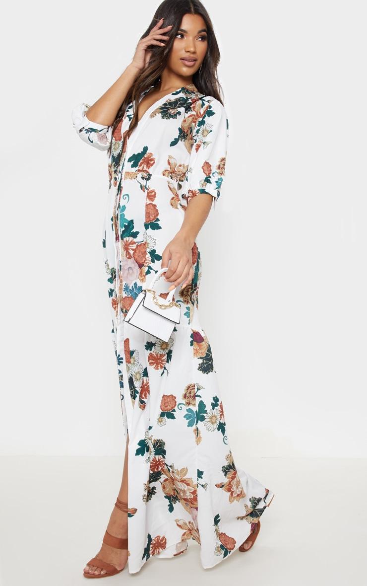 White Floral Button Front Split Maxi Dress 4
