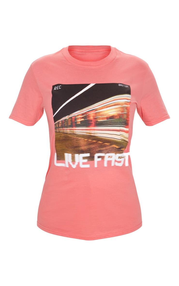 T-shirt corail à slogan Live Fast 3