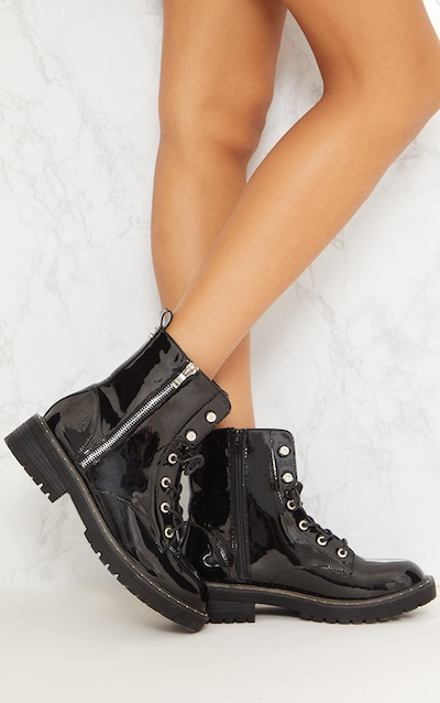 Black Chunky Hiker Lace Up Boot