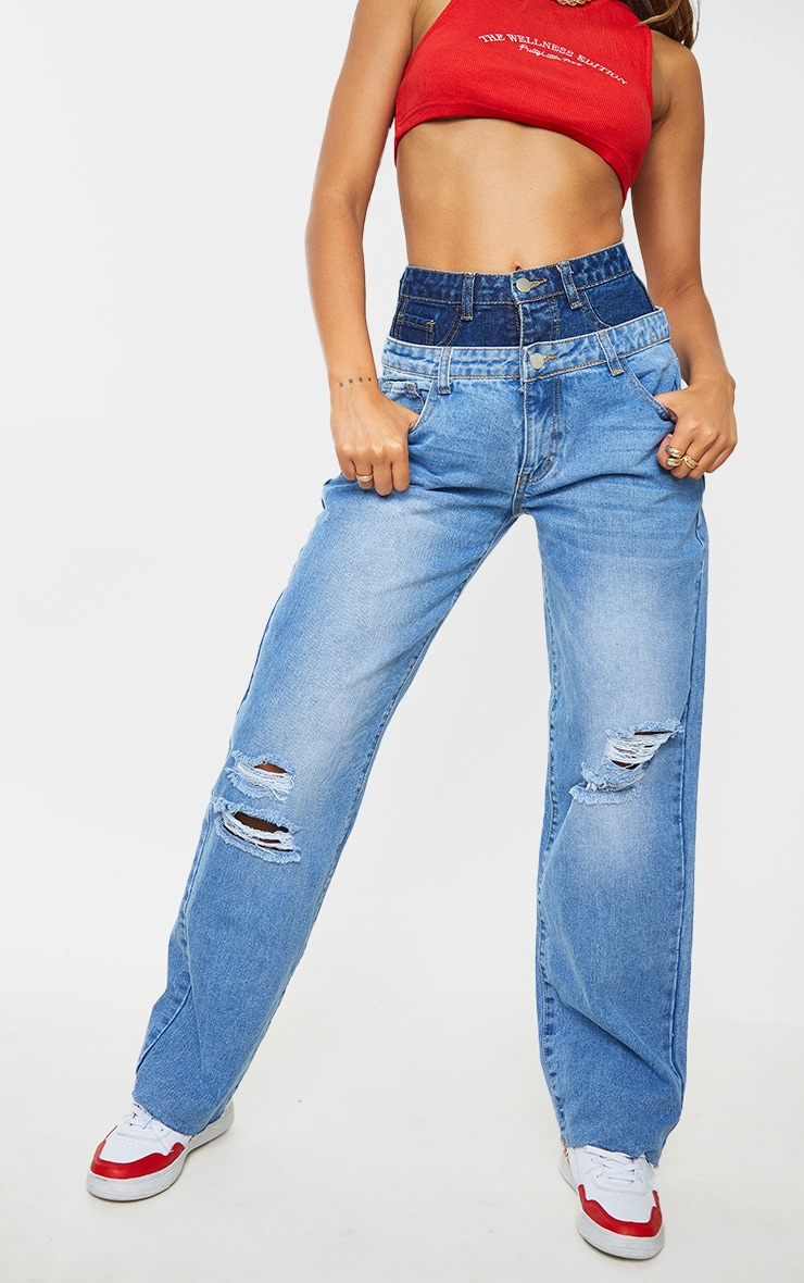 Mid Blue Wash Double Waistband Baggy 90'S Jeans  2