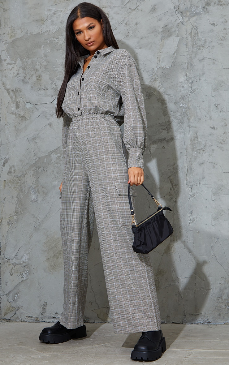 Beige Check Pocket Wide Leg Shirt Jumpsuit 3