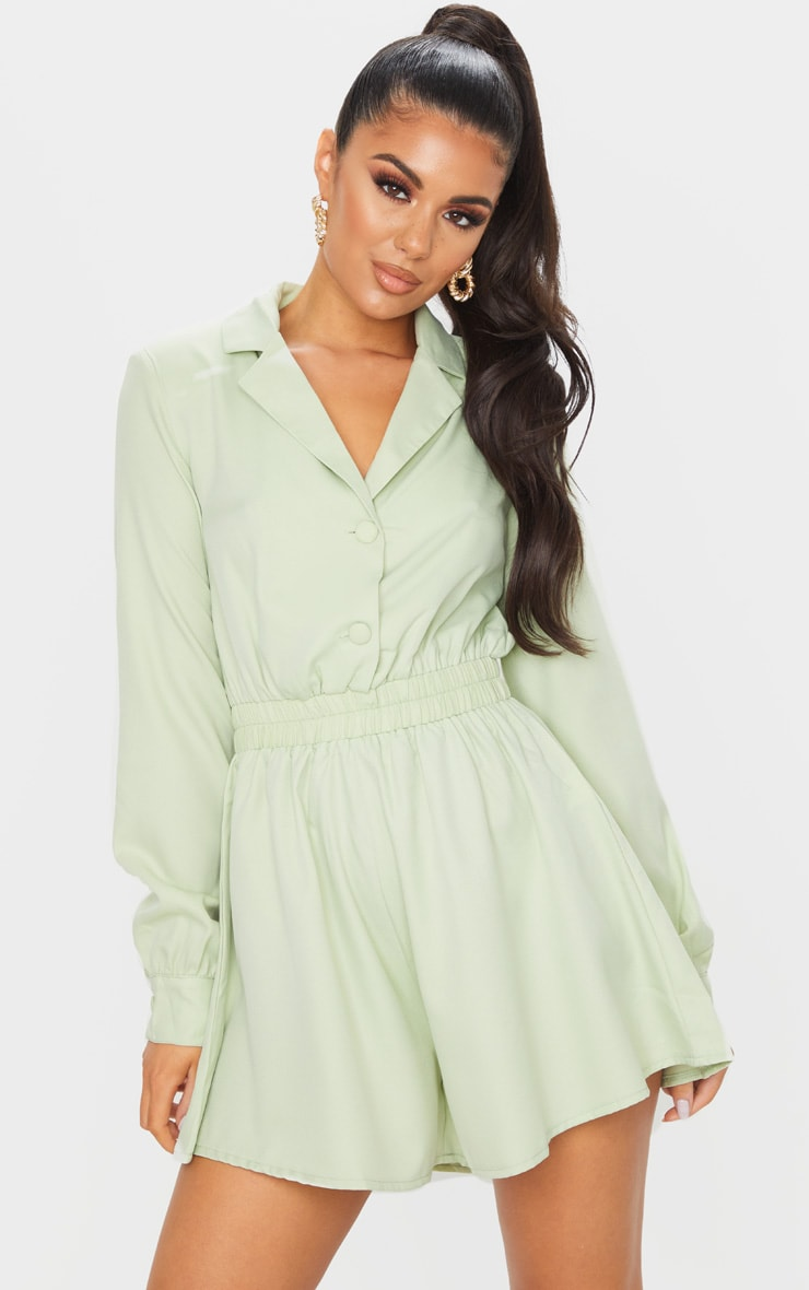 Combishort fluide à haut chemise vert sauge 1