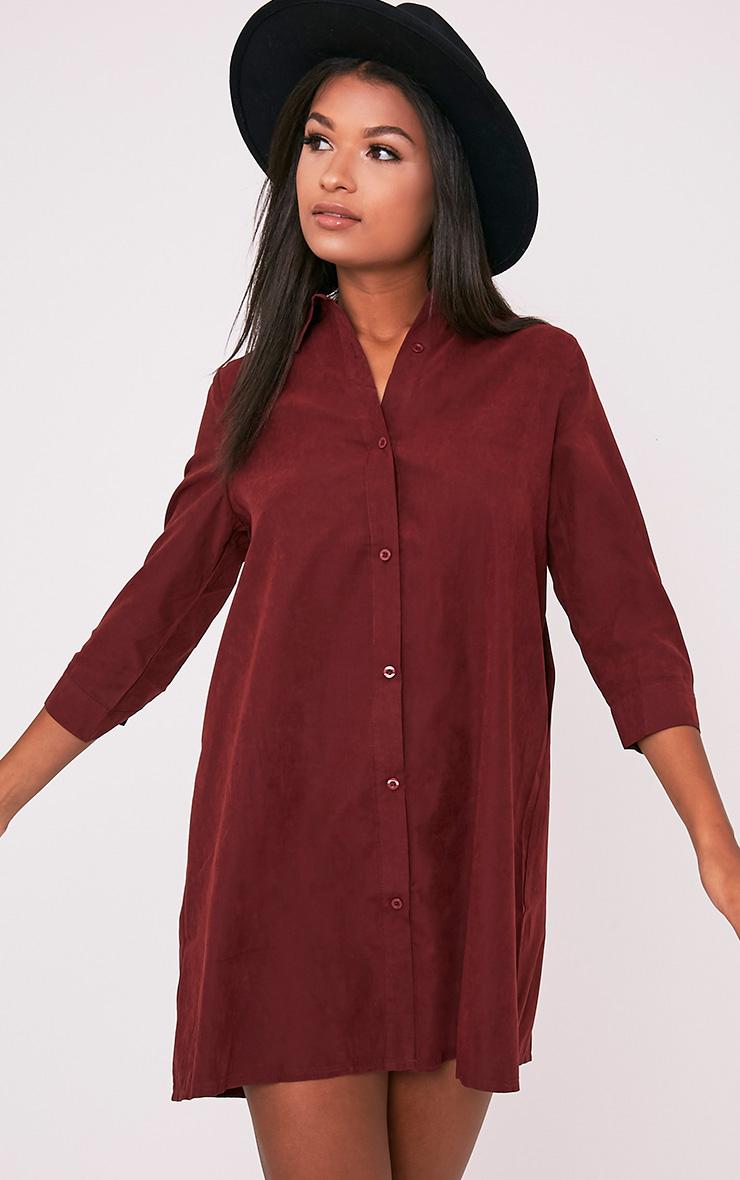 Leni Burgundy Shirt Dress 2