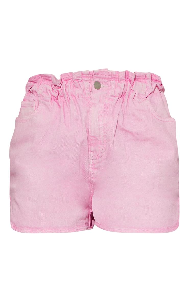 Pink Acid Paperbag Denim Shorts 6