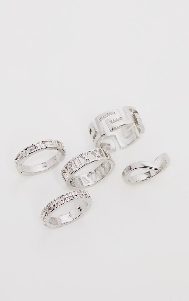 Silver Roman Multi Shape Five Set Ring Pack 2