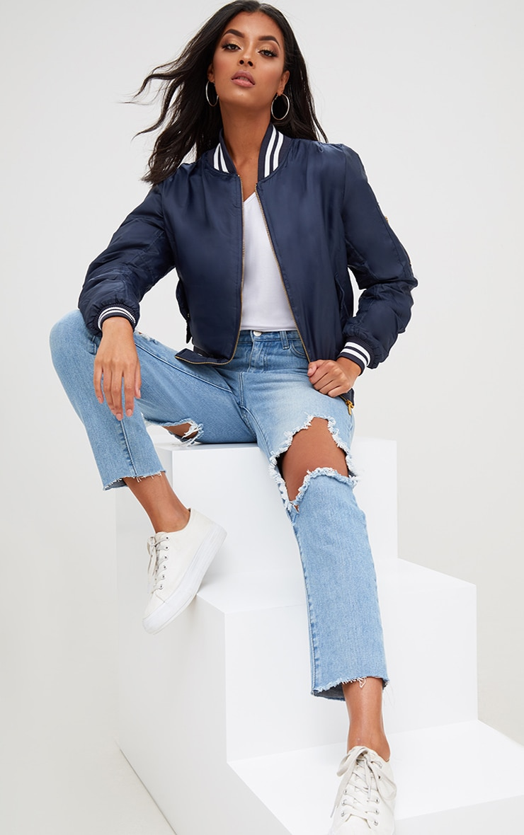 Navy Sports Trim Bomber Jacket 1