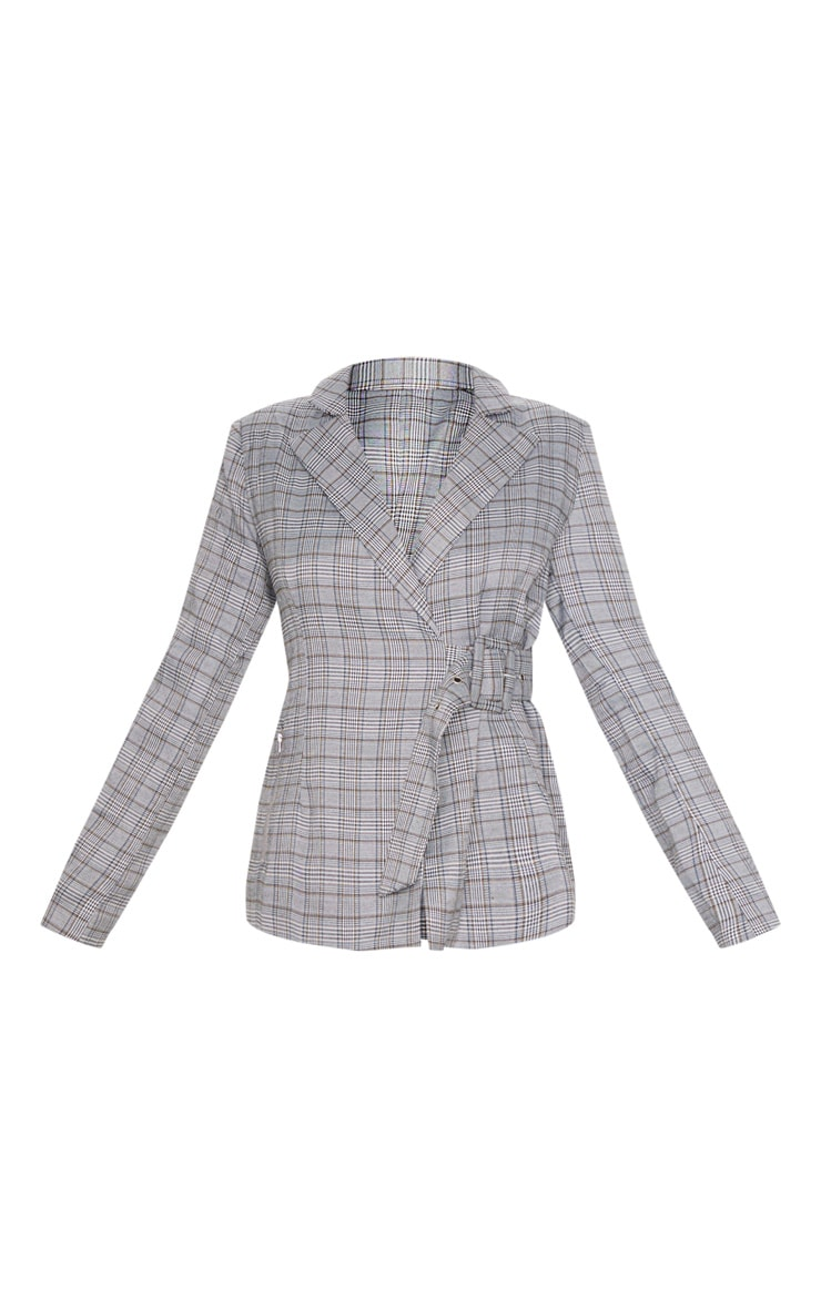 Grey Check Side Belted Blazer 3