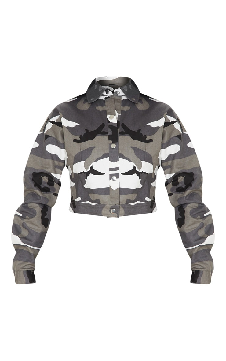 Grey Cropped Camo Trucker Jacket 3