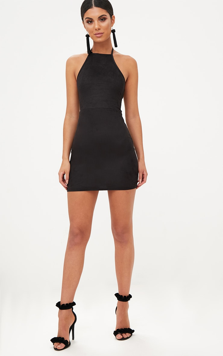 Black Faux Suede Strappy Back Bodycon Dress 4