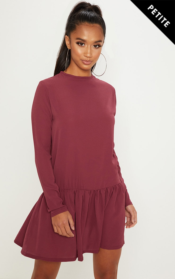 Petite Maroon Long Sleeve Frill Hem Shift Dress