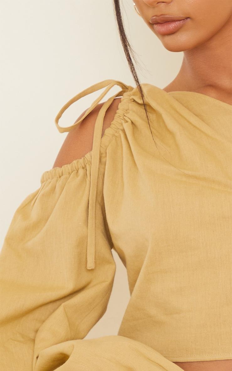 Beige Linen Look Ruched One Shoulder Cut Out Crop Top 4