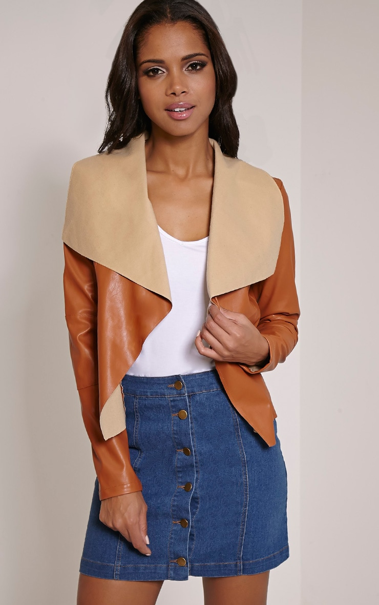 Mischa Tan Faux Leather Waterfall Jacket 1