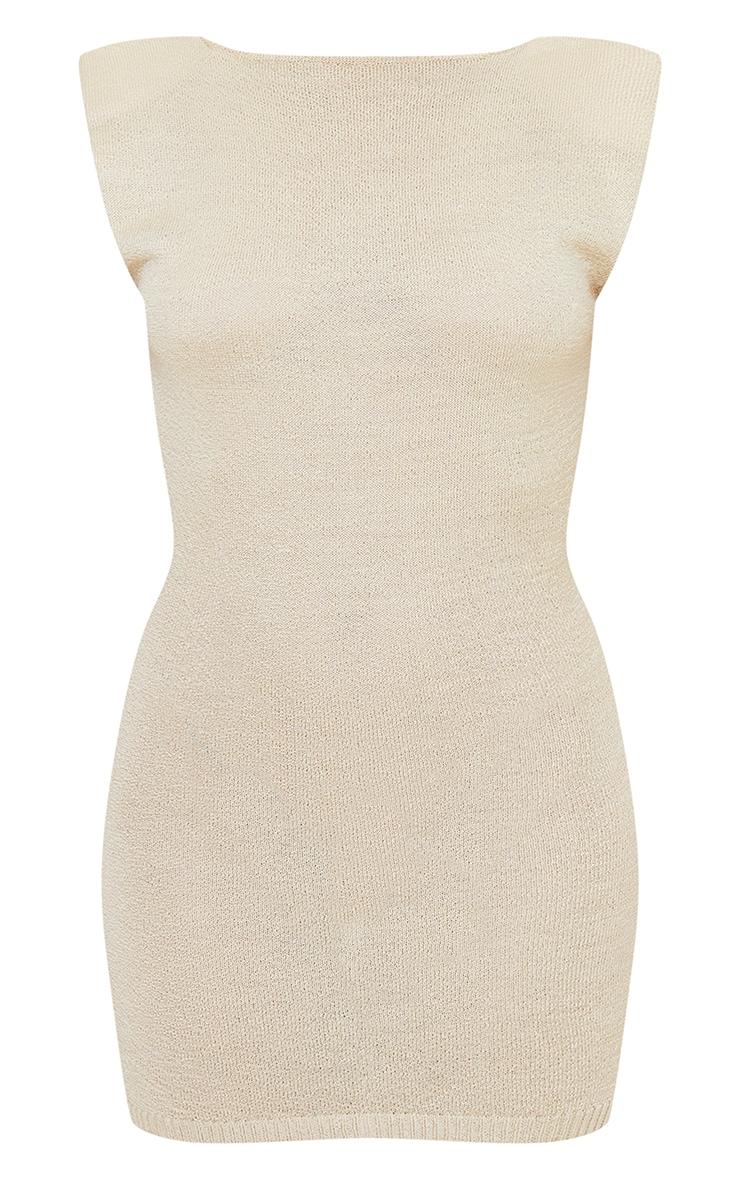 Beige Shoulder Pad Sheer Knit Dress 6