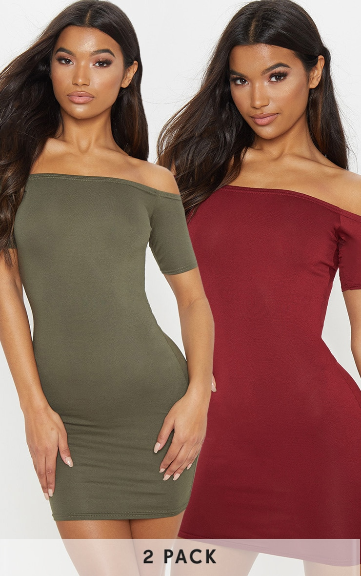 2 Pack Burgundy & Khaki Basic Bardot Bodycon Dress 1