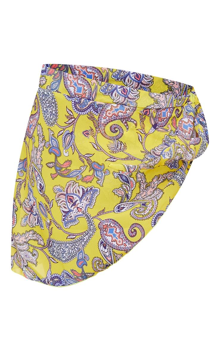 Sarong imprimé cachemire jaune à nouer sur le côté 6