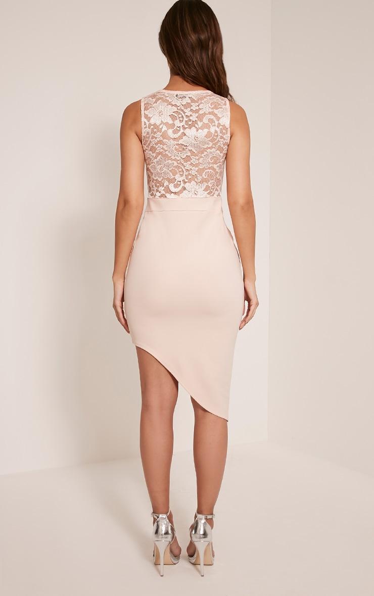 Patsy Nude Lace Top Asymmetric Midi Dress 2